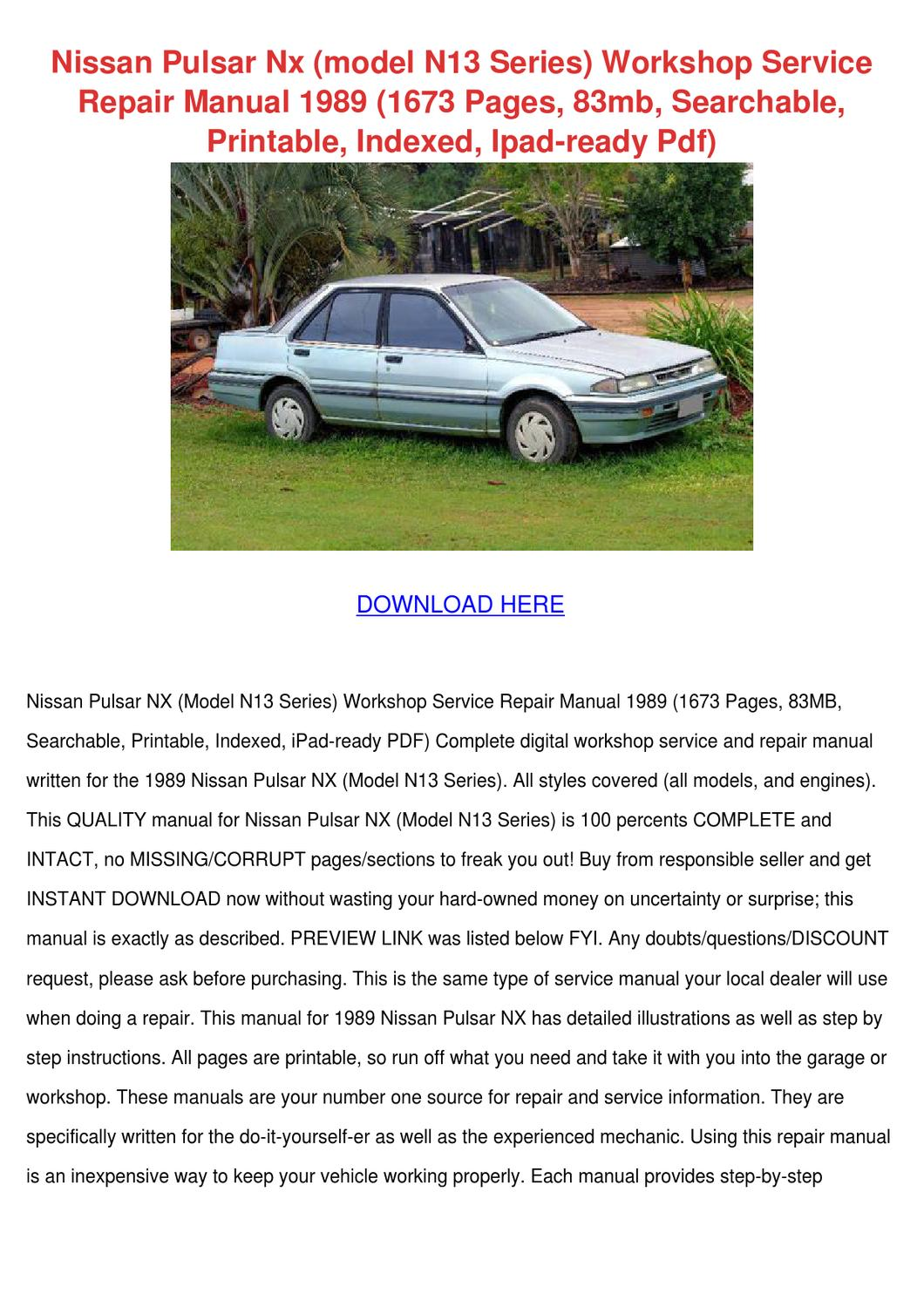 Nissan Pulsar Nx Model N13 Series Workshop Se by WilheminaTrinidad - issuu