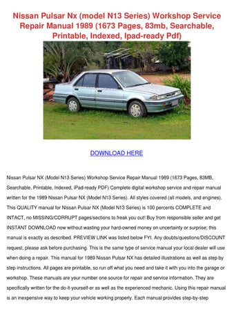 nissan pulsar nx model n13 series workshop se by wilheminatrinidad rh issuu com 1989 Nissan Pulsar 1989 Nissan