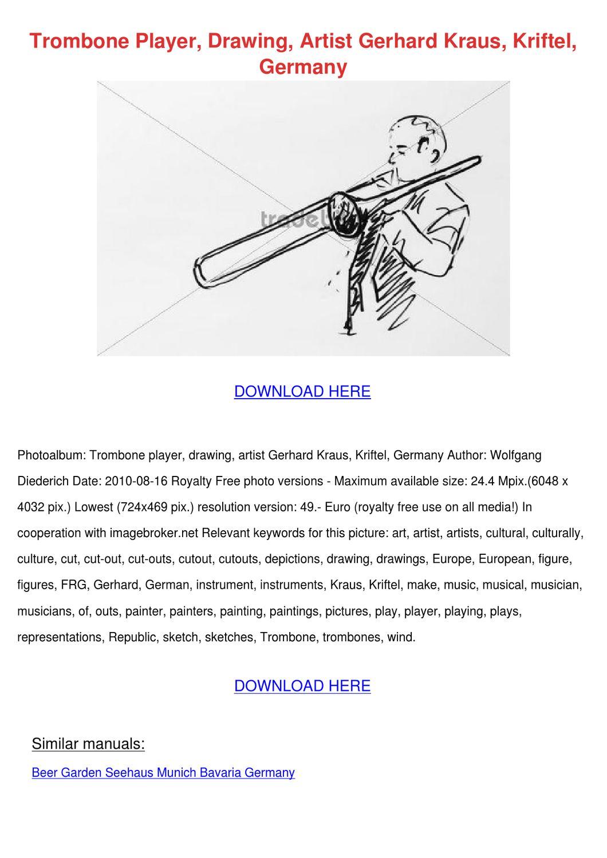 Trombone Player Drawing Artist Gerhard Kraus by ...  Trombone Player...