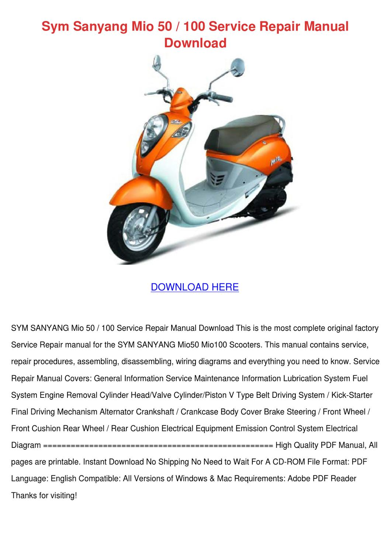 sym sanyang mio 50 100 service repair manual by. Black Bedroom Furniture Sets. Home Design Ideas