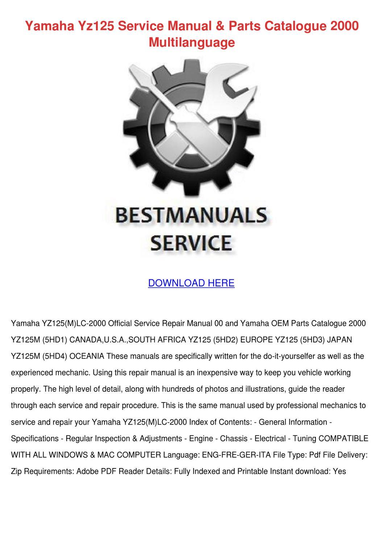 Yamaha Yz125 Service Manual Parts Catalogue 2 By Ionagladden Issuu Yz 125 Engine Diagram
