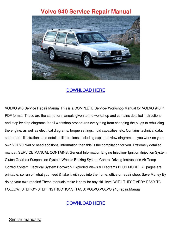 Volvo 940 Service Repair Manual by KayleneIngram - issuu
