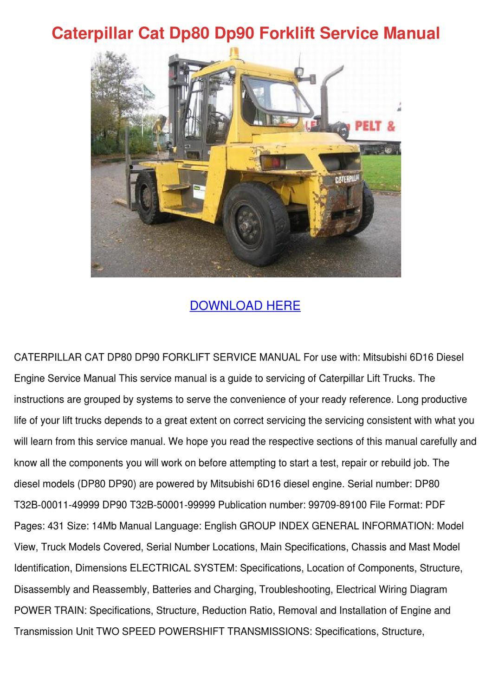 Caterpillar Cat Dp80 Dp90 Forklift Service Ma by DanielaCasteel - issuu