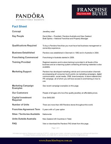 Pandora Fact Sheet By Franchise Buyer  Issuu