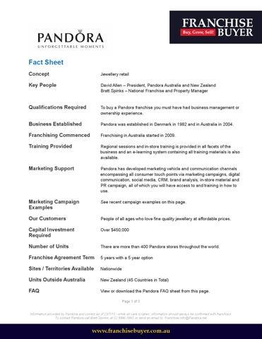 Pandora Fact Sheet By Franchise Buyer   Issuu