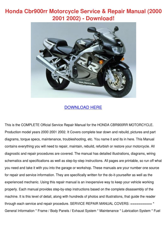Honda Cbr900rr Motorcycle Service Repair Manu By