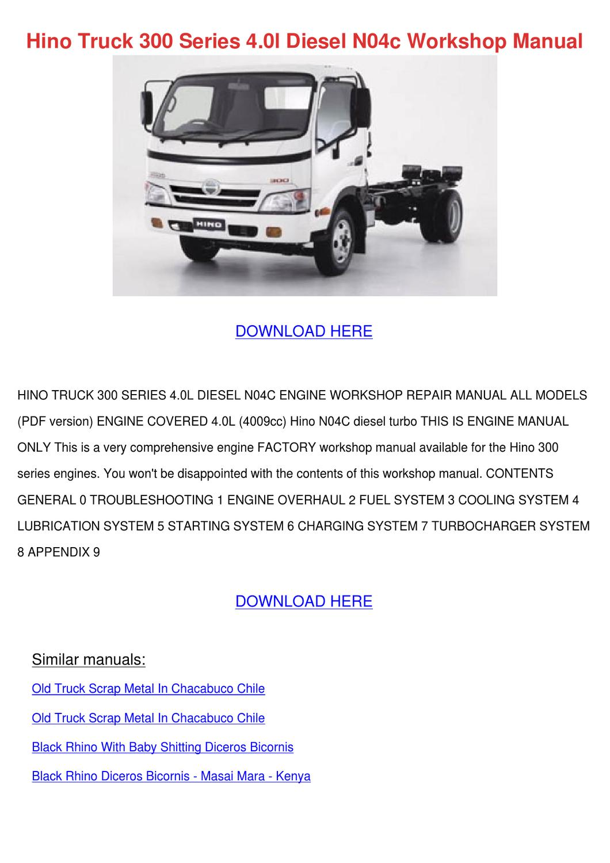 Hino Eh700 Engine Overhaul manual
