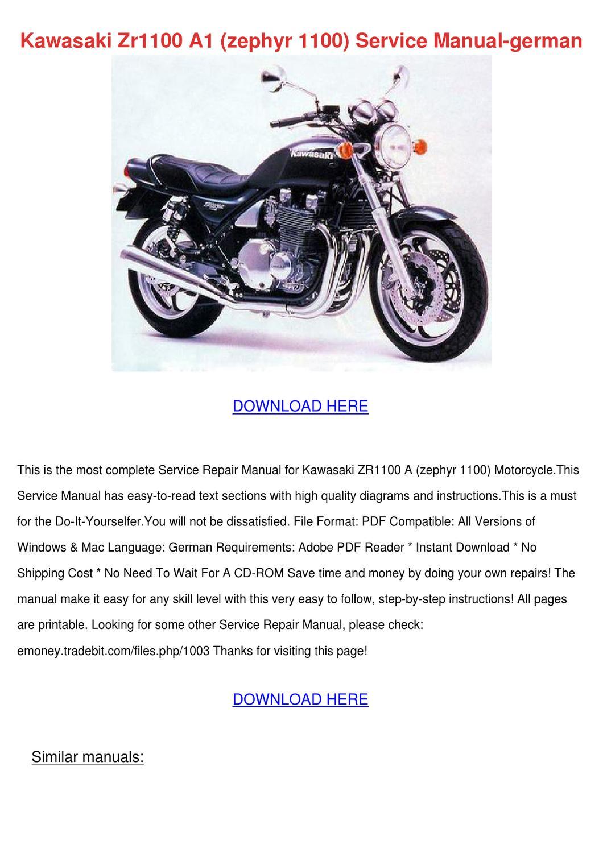 Kawasaki Zr1100 A1 Zephyr 1100 Service Manual by GraceFindley - issuu
