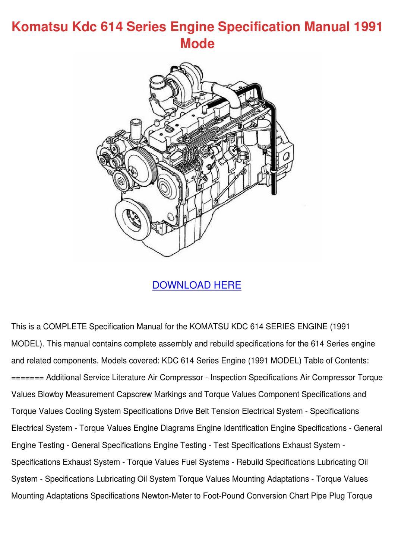 Komatsu Kdc 614 Series Engine Specification M by GeorgeFender - issuu