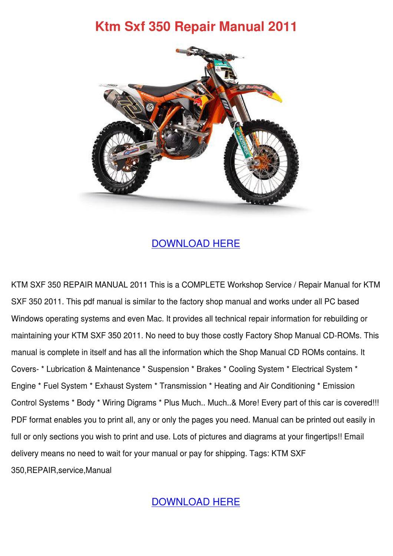 Ktm Sxf 350 Repair Manual 2011 by GeorgeFender - issuu
