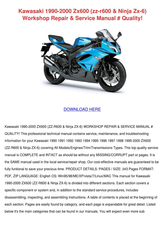 Kawasaki 1990 2000 Zx600 Zz R600 Ninja Zx 6 W by