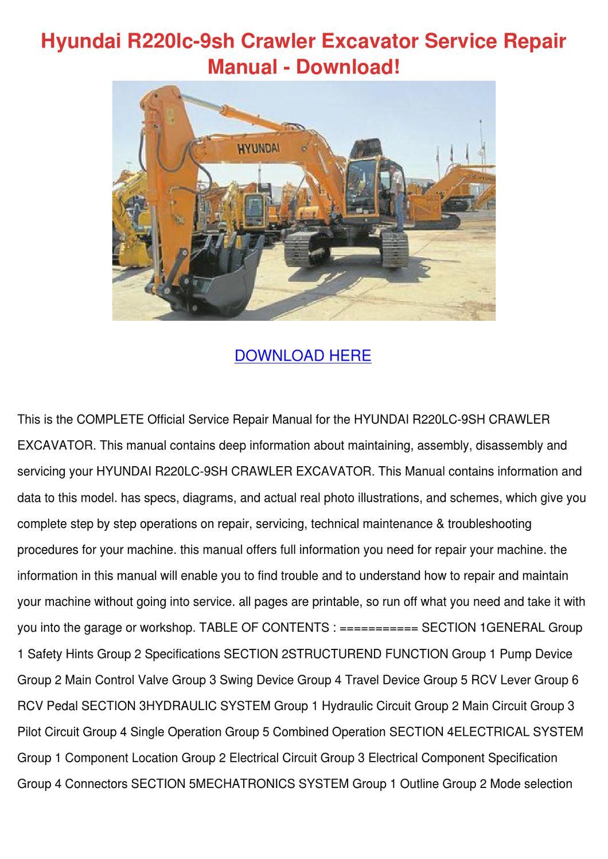 hyundai r220lc 9sh crawler excavator service by