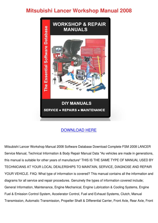 Mitsubishi Lancer Workshop Manual 2008 by GeorgeFender - issuu