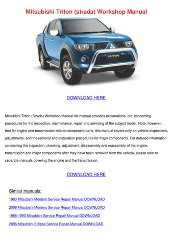mitsubishi triton strada workshop manual by judsonhines issuu rh issuu com Volkswagen Amarok 1994 mitsubishi l200 workshop manual