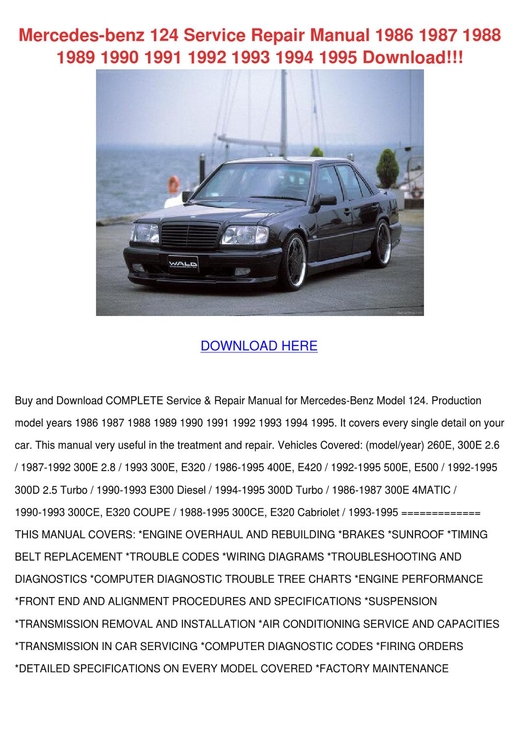 Mercedes Benz 124 Service Repair Manual 1986 by ...
