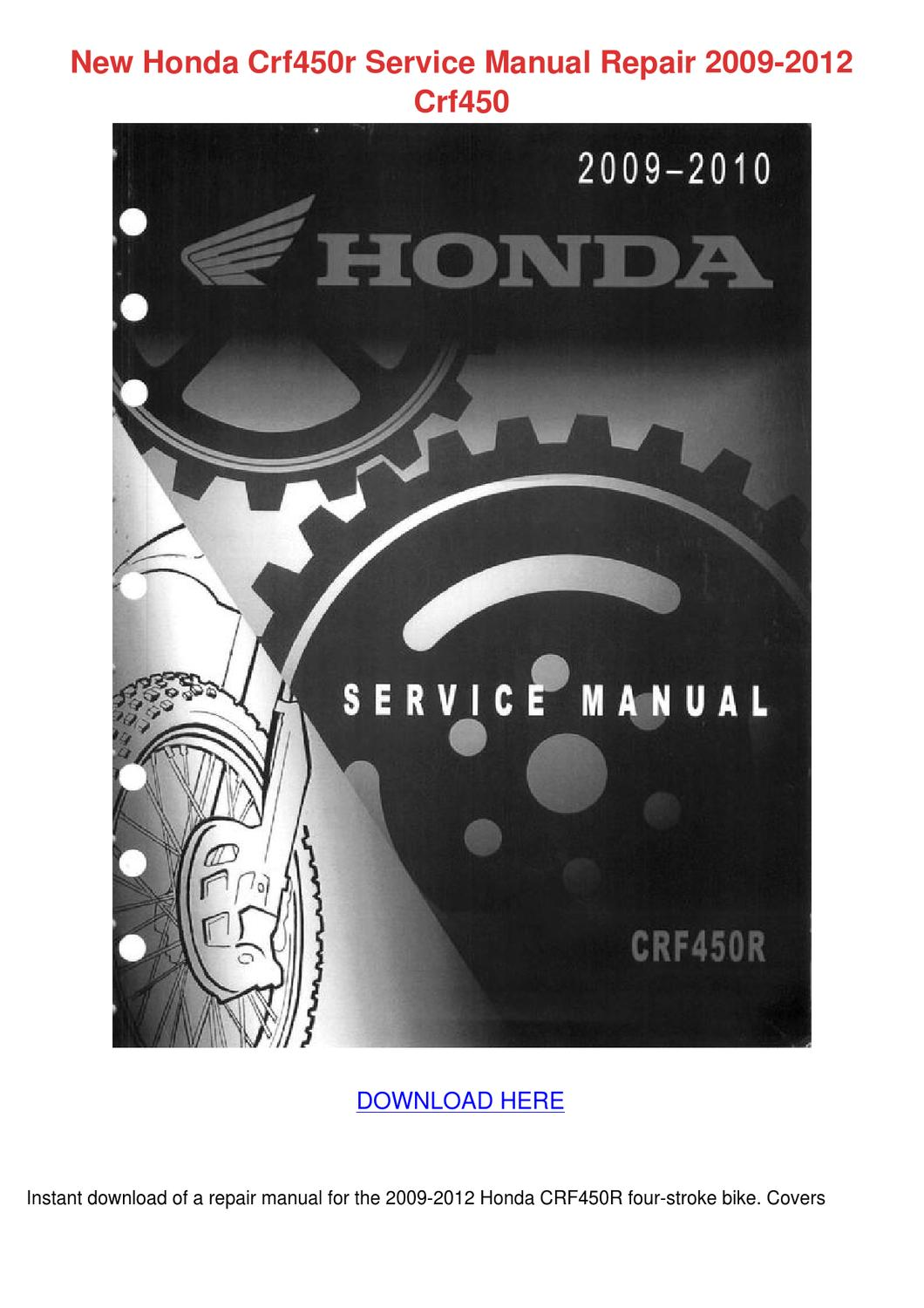 New Honda Crf450r Service Manual Repair 2009