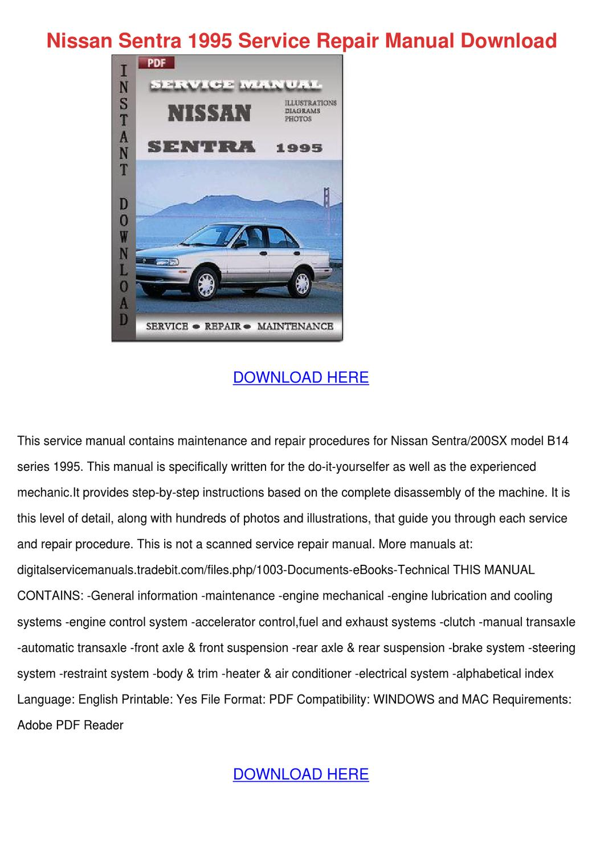 Nissan Sentra 1995 Service Repair Manual Down by RositaReeves - issuu