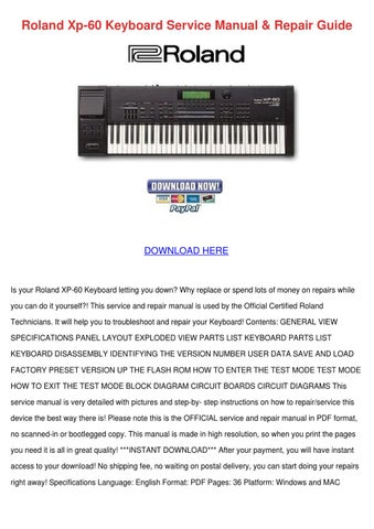 Roland Xp 60 Keyboard Service Manual Repair G by RositaReeves - issuu