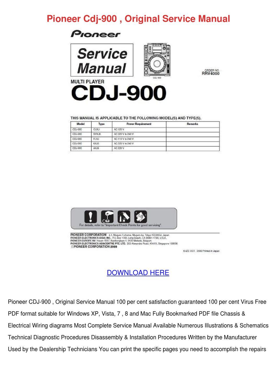 pioneer cdj 900 original service manual by lonlemieux issuu. Black Bedroom Furniture Sets. Home Design Ideas