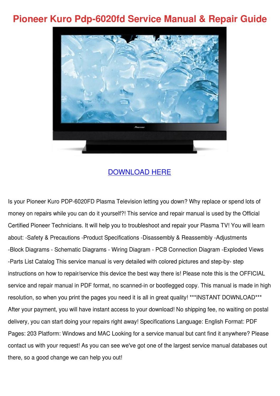 pioneer kuro pdp 6020fd service manual repair by. Black Bedroom Furniture Sets. Home Design Ideas