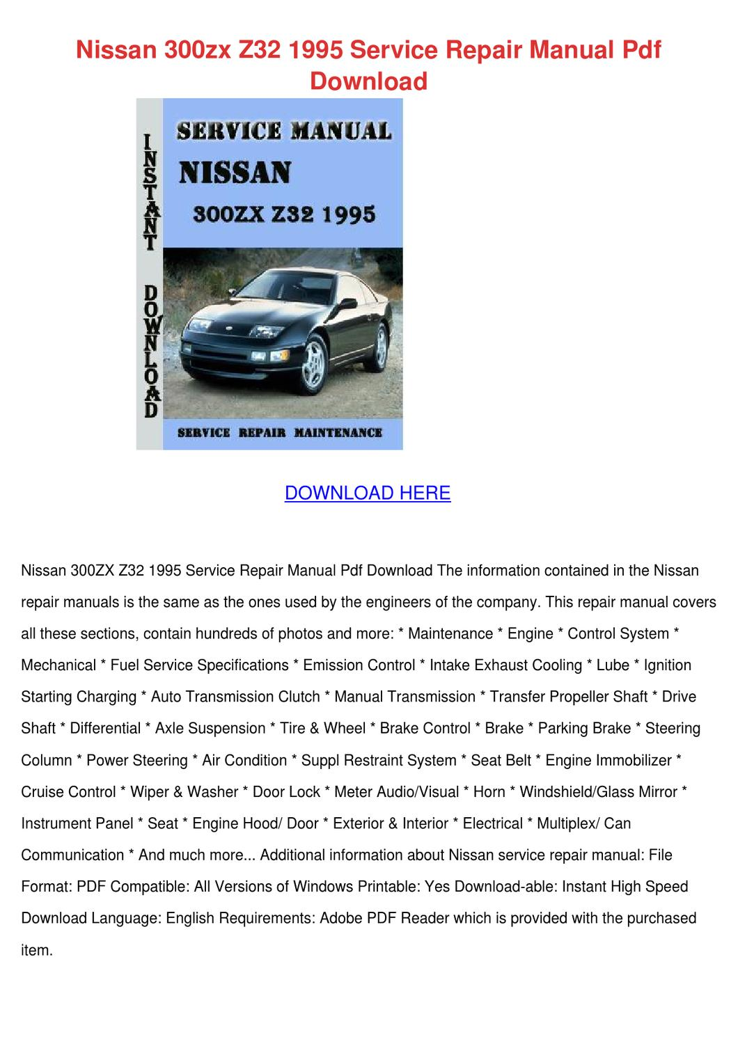 nissan 300zx z32 1995 service repair manual p by