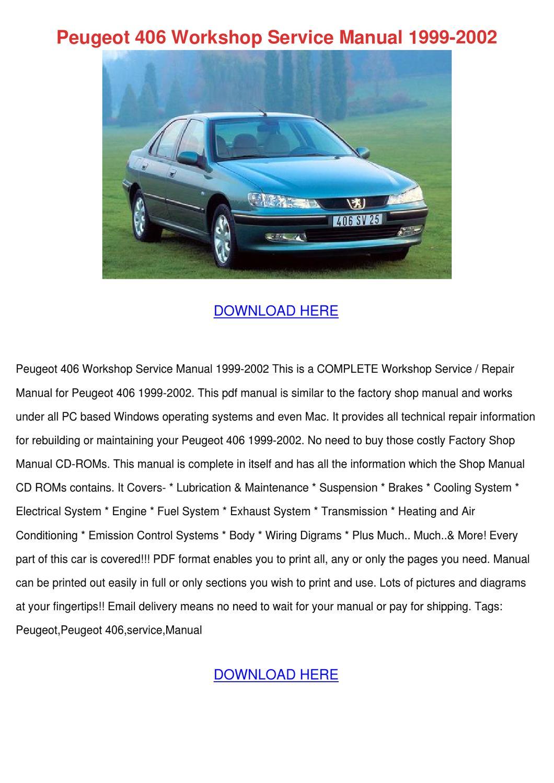 Peugeot 406 Workshop Service Manual 1999 2002 By Yvonnetaber