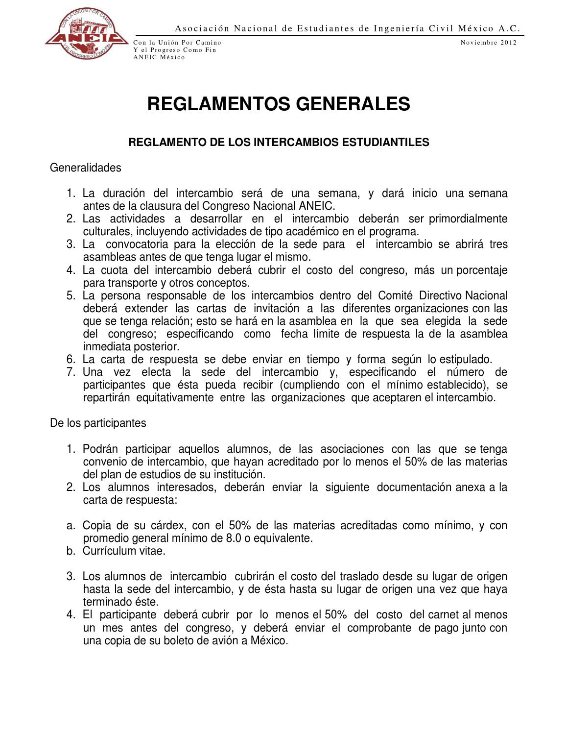 Reglamentos generales by ANEIC MÉxico - issuu