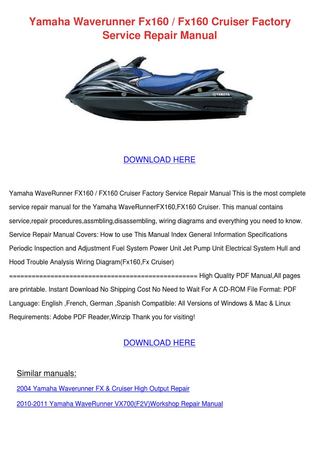 Yamaha Suv Waverunner Wiring Diagram Trusted Diagrams Viking Fx160 Cruiser Factory By Moniqueneeley Issuu