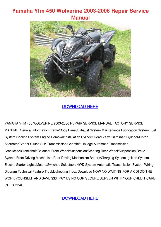 Yamaha Yfm 450 Wolverine 2003 2006 Repair Ser By