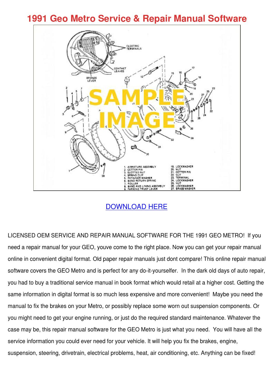 1991 Geo Metro Service Repair Manual Software By Meganmeier