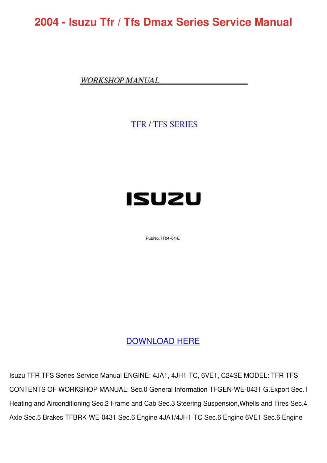 2004 isuzu tfr tfs dmax series service manual by