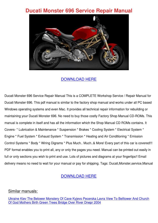 Ducati Monster 696 Service Repair Manual By Penninewell