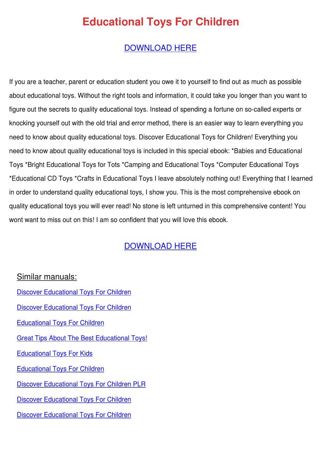 Toys For Tots Logo Pdf : Educational toys for children by emanuelcovert issuu