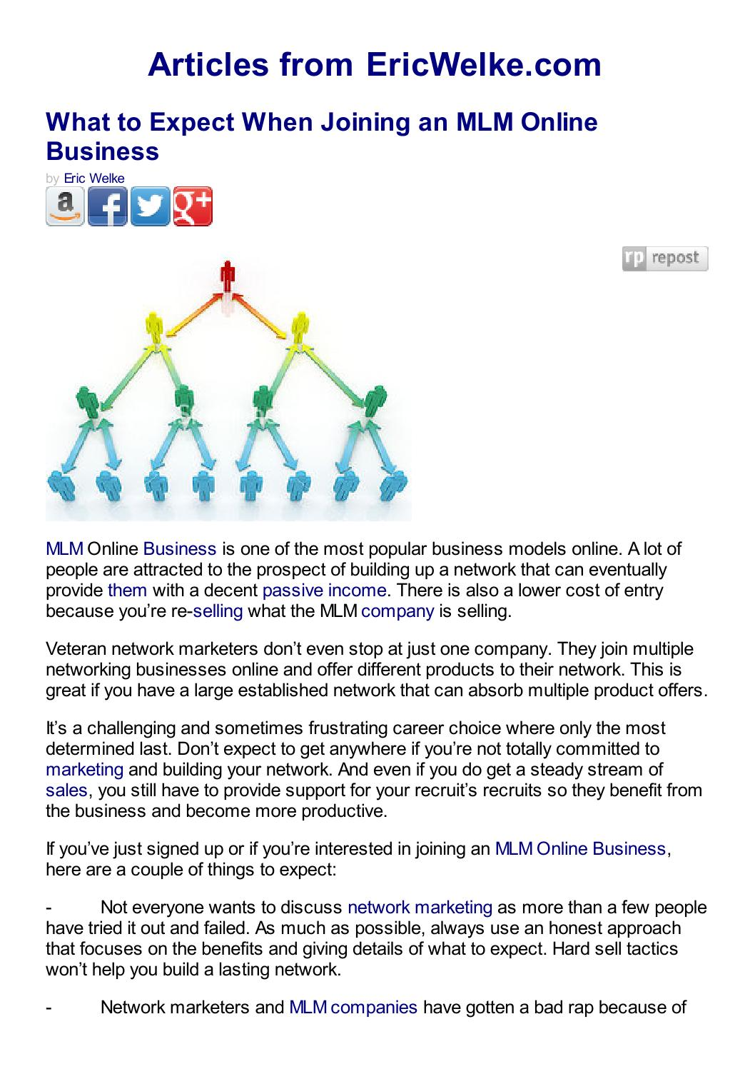 What to expect when joining an mlm online business by ericwelke by