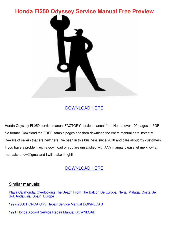 Honda Fl250 Odyssey Service Manual Free Previ By