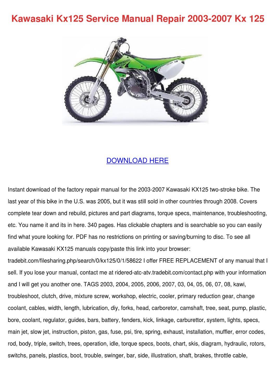 Kawasaki Kx125 Service Manual Repair 2003 200 By Florentinadumas Issuu