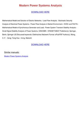 Modern Power Systems Analysis by FlorentinaDumas - issuu