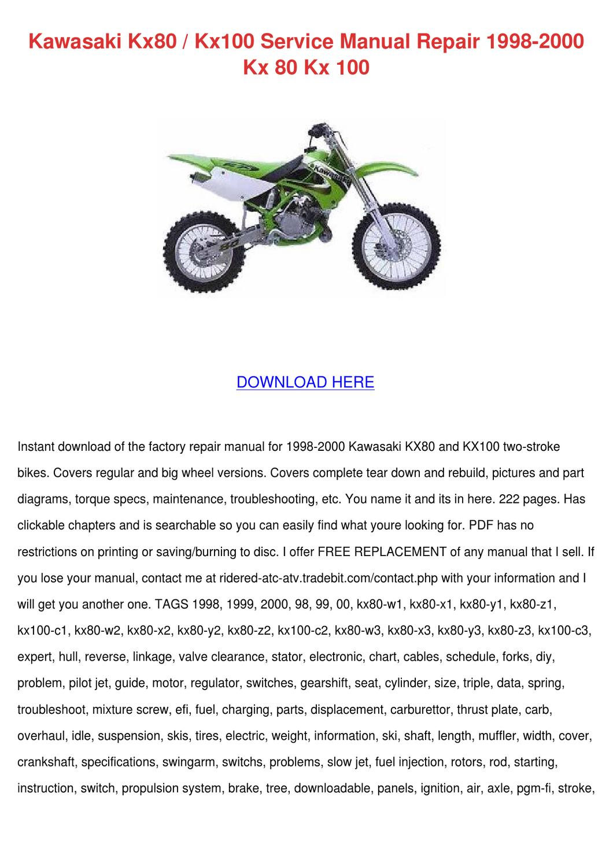 Kawasaki Kx80 Kx100 Service Manual Repair 199 By Princesspeters Issuu