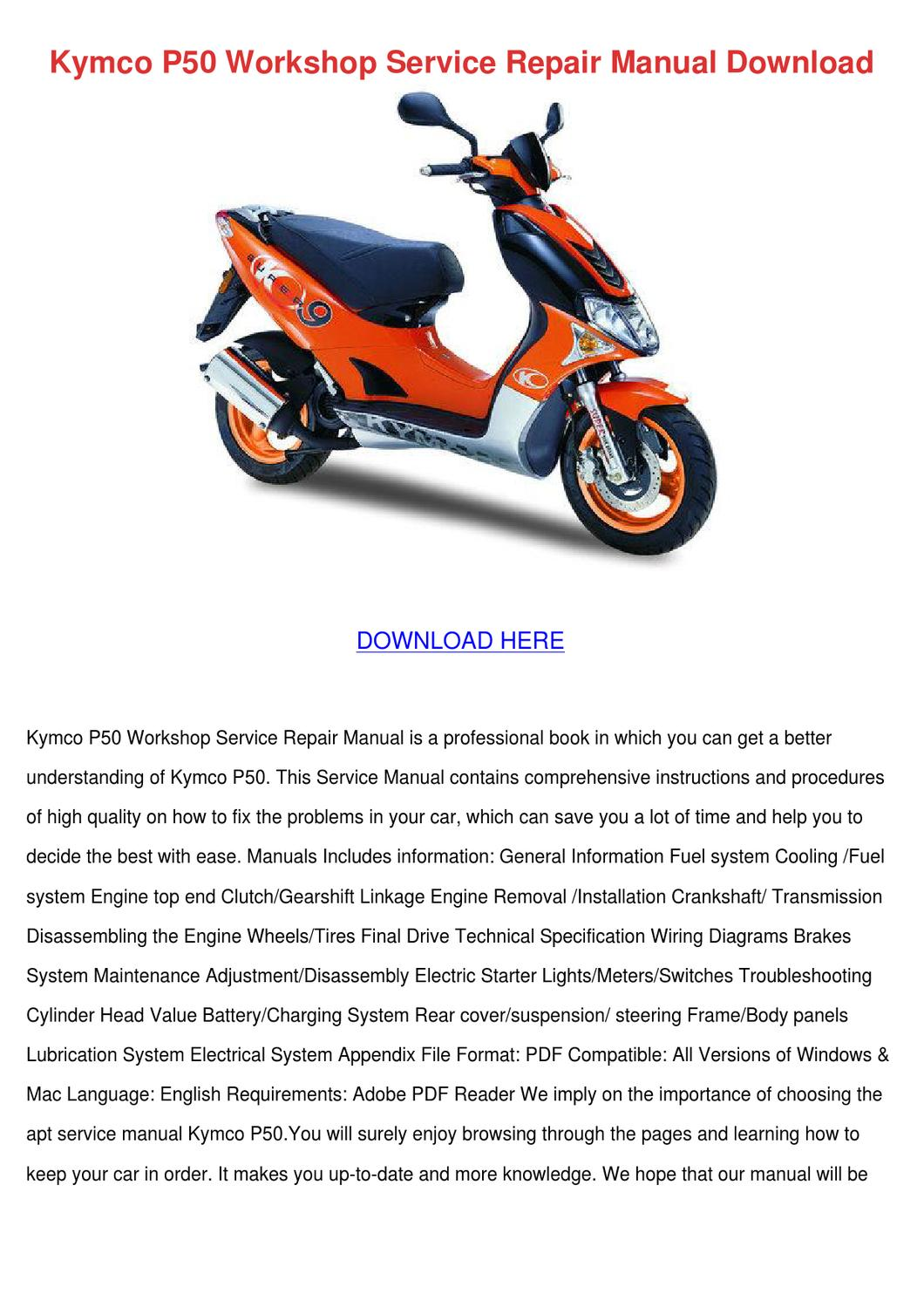 Kymco P50 Workshop Service Repair Manual Down By Princesspeters Issuu Engine Diagram