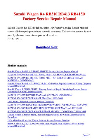 Suzuki Wagon R Rb310 Rb413 Rb413d Factory Service Repair Manual Pdf By Ping Dong Issuu