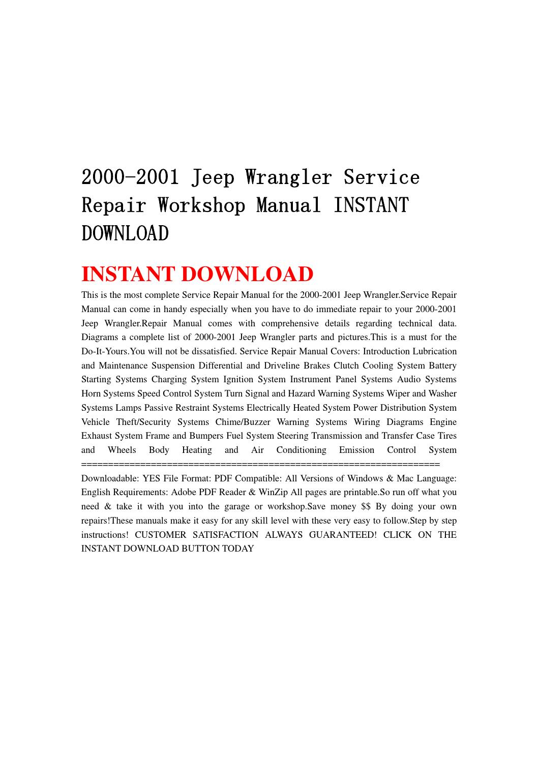 2000 2001 jeep wrangler service repair workshop manual instant download by  hytggse - issuu