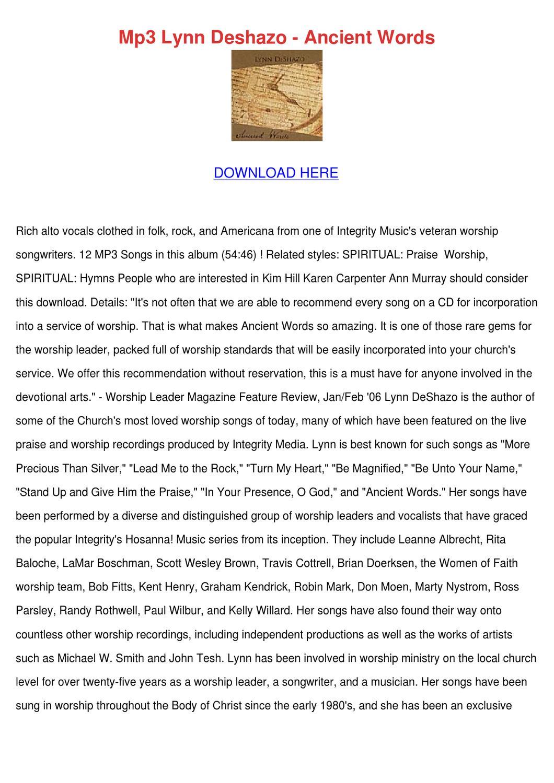 Mp3 Lynn Deshazo Ancient Words by LeonidaLashley - issuu
