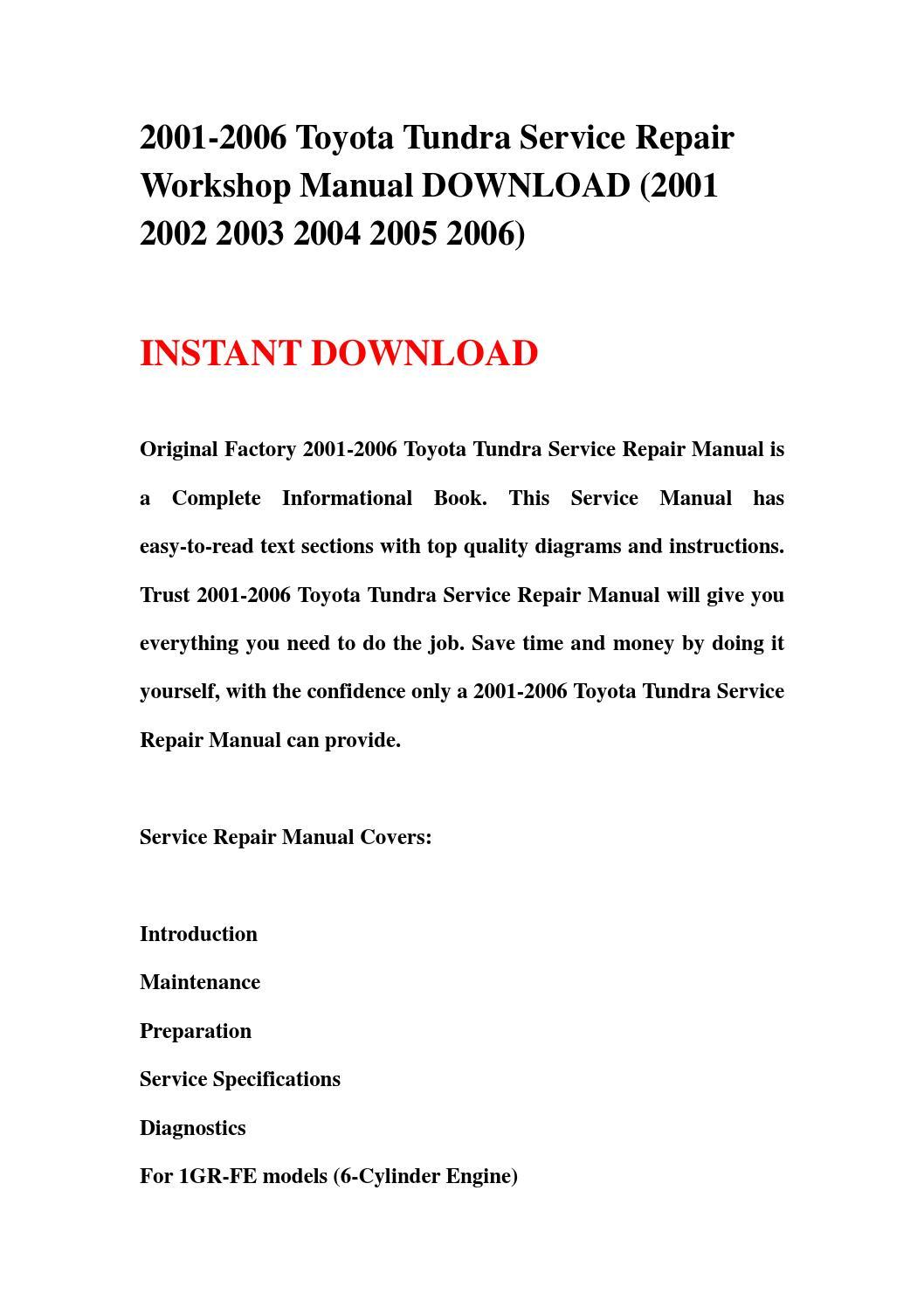 2001 2006 Toyota Tundra Service Repair Workshop Manual
