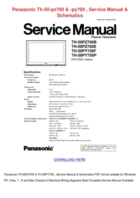 Panasonic Th 50 Pz700 Py700 Service Manual Sc by EvelyneDionne - issuu