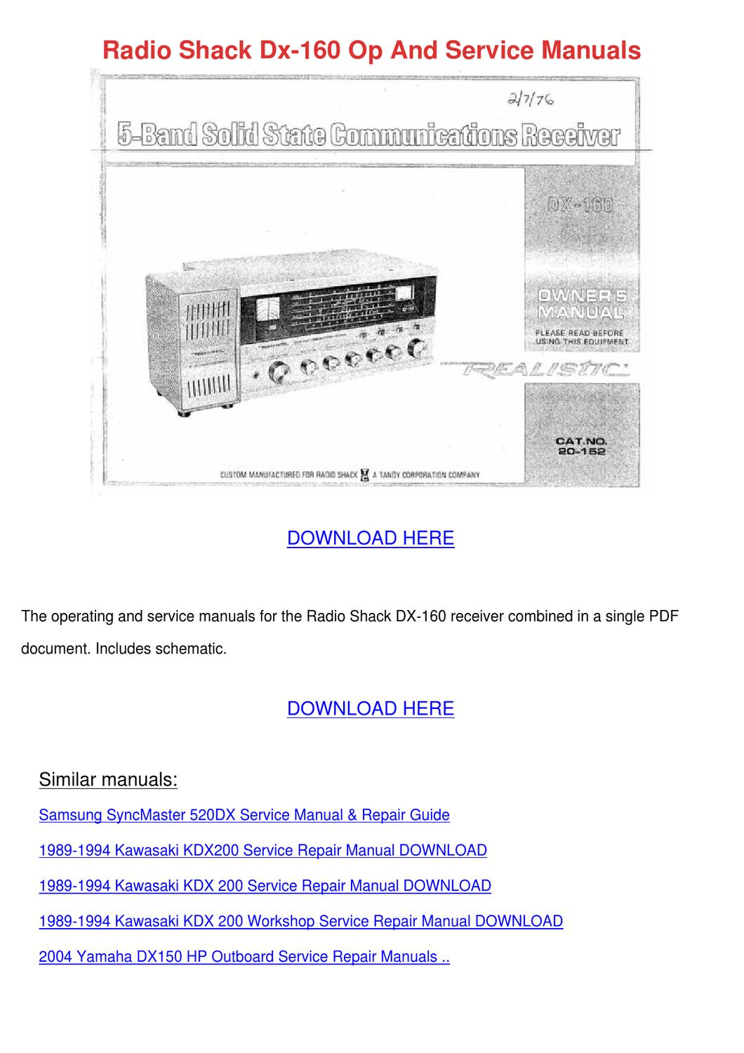 Radio Shack Dx 160 Op And Service Manuals By Evelynedionne