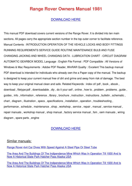 Range Rover Owners Manual 1981 by EdwardCronin - issuu
