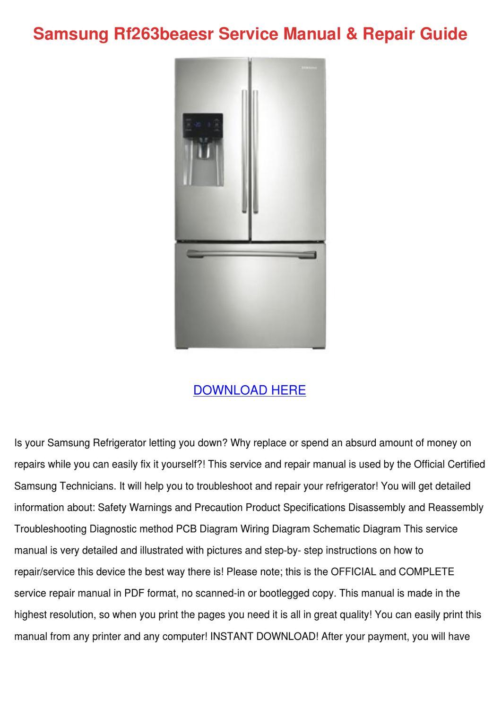Samsung Rf263beaesr Service Manual Repair Gui By