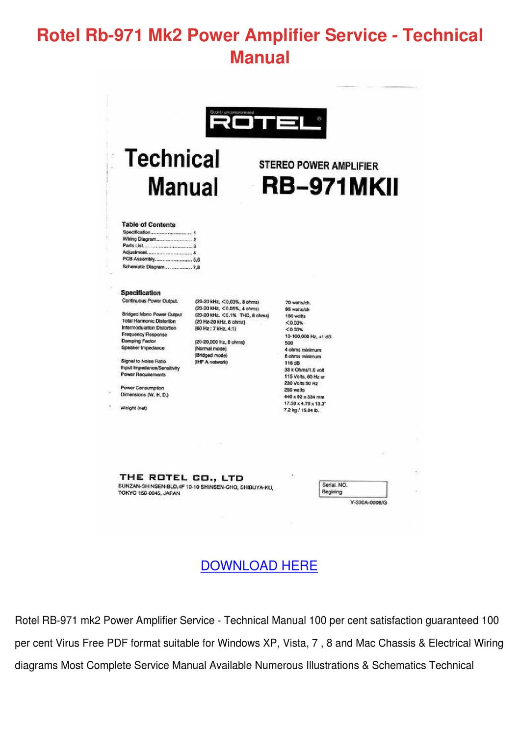 Rotel Rb 971 Mk2 Power Amplifier Service Tech by WillardTrout - issuu