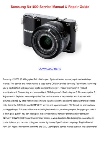 Samsung nx1000 service manual repair guide by floraeason issuu page 1 samsung nx1000 service manual sciox Choice Image