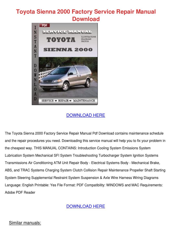 Toyota Sienna 2000 Factory Service Repair Man By Dulciecouncil Issuu 1988 Mr2 System Wiring Diagrams Pdf File